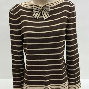 St John Collection Brown Tan Striped Sweater Sz 2